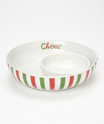 Red & Green Stripe 8.5'' Chip & Dip