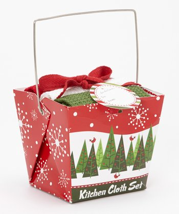 Design Imports Trees & Tweets Gift Box & Dishcloth Set