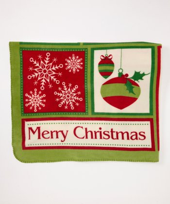 Design Imports Red Cozy Christmas Fleece Throw