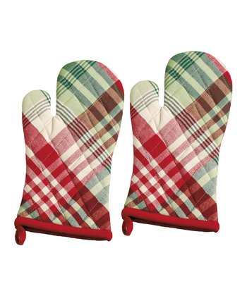 Design Imports Cozy Christmas Plaid Oven Mitt - Set of Two