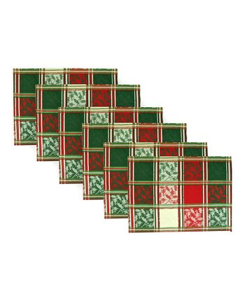 Red & Green Jacquard Place Mat - Set of Six