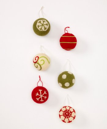 Wool Ball Ornament Set