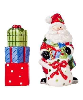 Fitz and Floyd Be Merry Santa Salt & Pepper Shakers