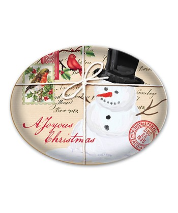 Michel Design Works Snowman Oval Glass Soap Dish