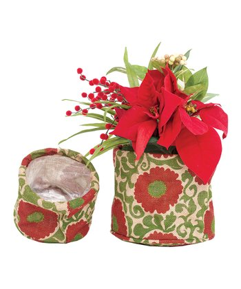 Red Imperial Rosette Pot Cover - Set of Six