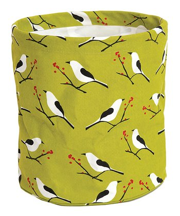 rockflowerpaper Snowy Bird Canvas Basket
