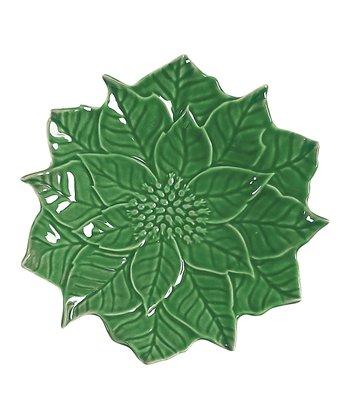 Andrea by Sadek Green Poinsettia 8'' Dessert Plate