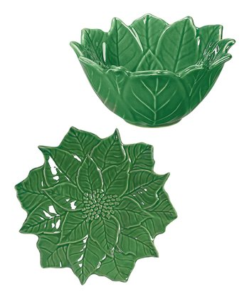 Green Poinsettia Chip Plate & Dip Bowl