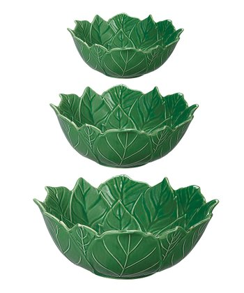Green Poinsettia Bowl Set