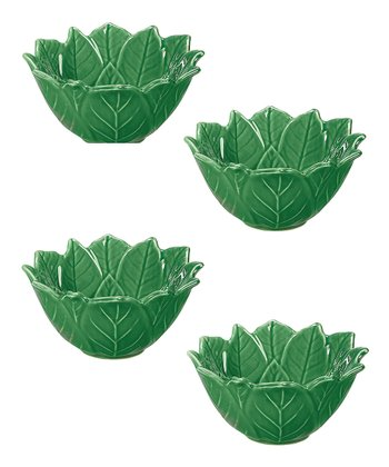 Green Poinsettia 4.75'' Bowl - Set of Four