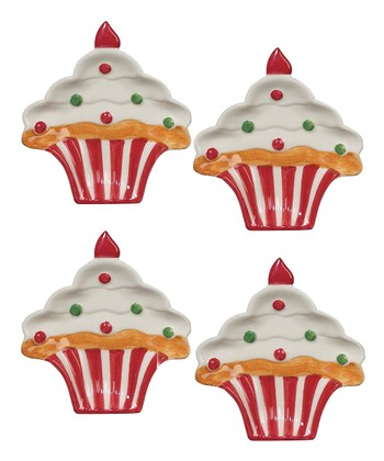Holiday Cupcake 4.5'' Dish - Set of Four