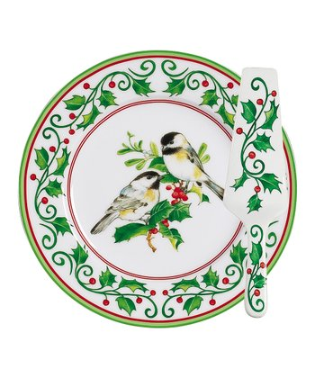 Chickadee 10.75'' Cake Plate & Server