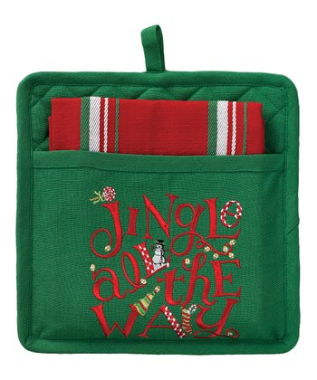 Split P 'Jingle All The Way' Pocket Pot Holder & Dish Towel
