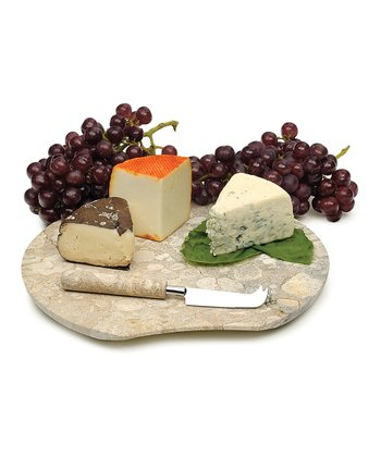 Fossil Marble Cheese Board & Knife