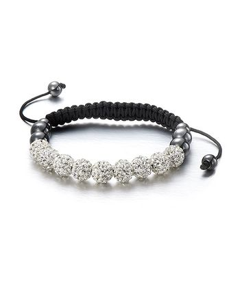 Czech Crystal & Black Frosted Friendship Bracelet