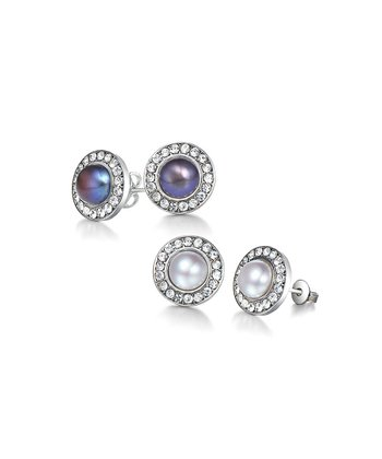 Black & White Freshwater Pearl Stud Earrings Set