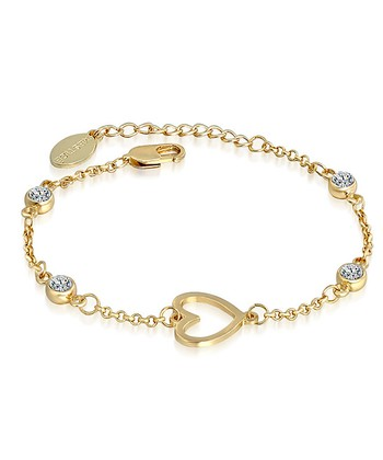 Crystal & Gold Heart Charm Bracelet Made With SWAROVSKI ELEMENTS