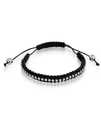 Black Crystal Cord Bracelet Made With SWAROVSKI ELEMENTS