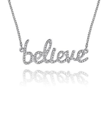 Silver Crystal 'Believe' Necklace Made With SWAROVSKI ELEMENTS