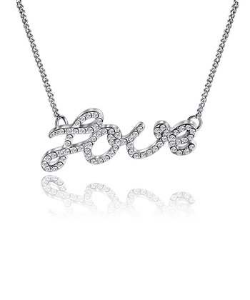 Silver Crystal 'Love' Necklace Made With SWAROVSKI ELEMENTS
