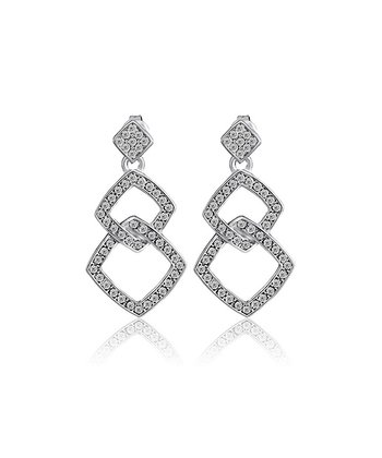 Silver Crystal Square Earrings Made With SWAROVSKI ELEMENTS