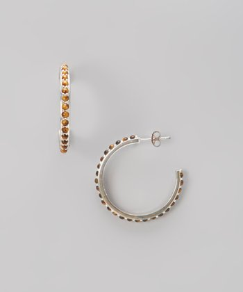 Tiger Eye & Silver Hoop Earrings