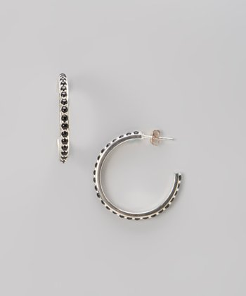 Black & Silver Hoop Earrings