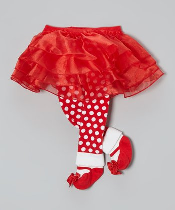 Red & White Tutu Footie Leggings - Infant