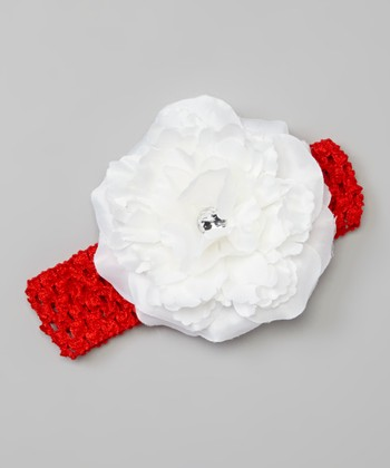 Red & White Crocheted Baby Bloom Headband