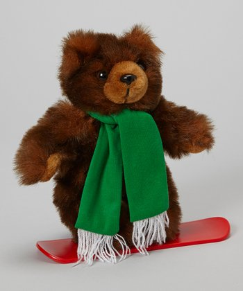 Brown Snowboarder Bear Plush Toy