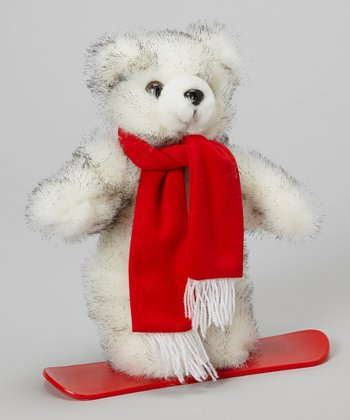 White Snowboarder Bear Plush Toy