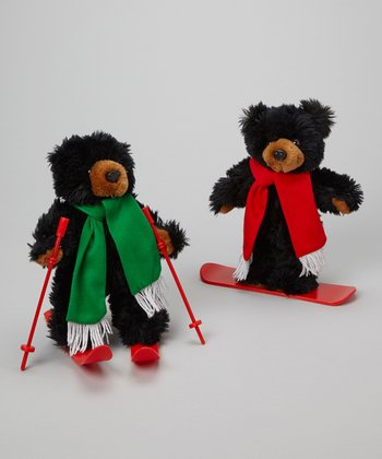 Rockies Snowboard & Skiing Bear Plush Toy Set