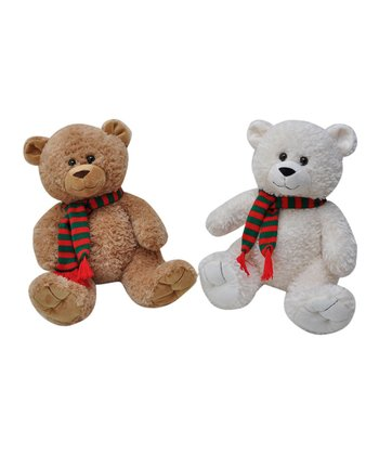 White & Tan Bear Plush Toy Set