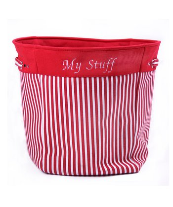Red Stripe 'My Stuff' Canvas Storage Basket