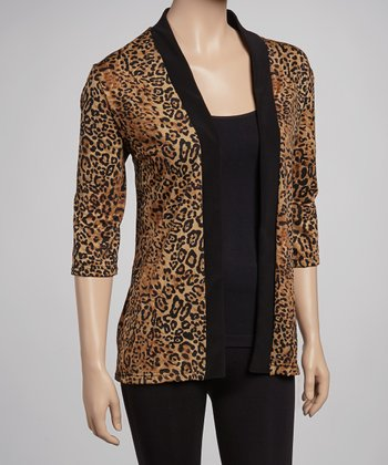 Brown & Black Leopard Cardigan - Women & Plus