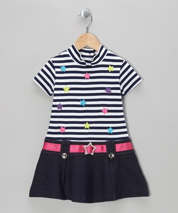Denim Blue Stripe Star Dress - Toddler & Girls