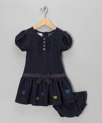 Denim Blue Button Heart Dress - Infant, Toddler & Girls
