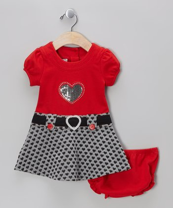 Red Heart Dress - Girls