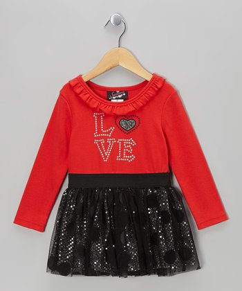 Red Polka Dot 'Love' Mesh Dress - Infant