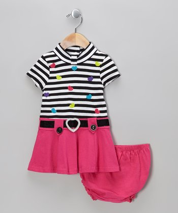 Pink Stripe Heart Dress - Infant & Girls