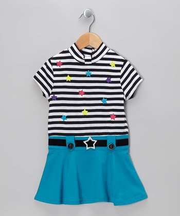 Turquoise Stripe Star Dress - Toddler