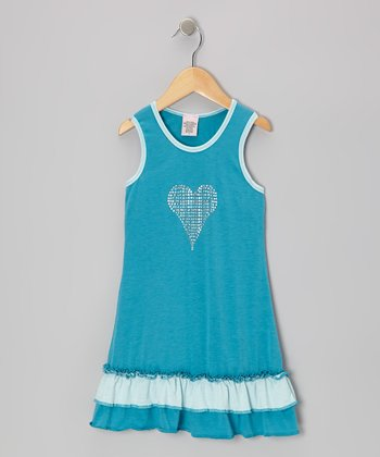 Turquoise Heart Ruffle Dress - Toddler & Girls