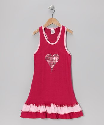 Fuchsia Heart Ruffle Dress - Toddler & Girls
