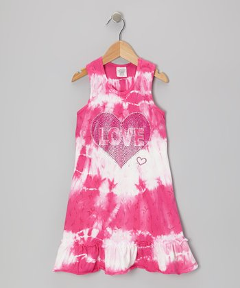 Fuchsia 'Love' Tie-Dye Ruffle Dress - Toddler & Girls