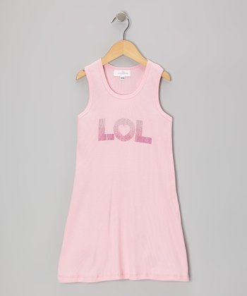 Pink 'LOL' Dress - Toddler & Girls