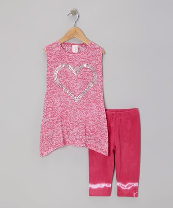 Fuchsia Heart Sidetail Tunic & Capri Pants - Toddler & Girls
