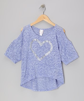 Lavender Heart Hi-Low Tee - Girls