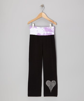 Black & Lavender Heart Yoga Pants - Toddler & Girls