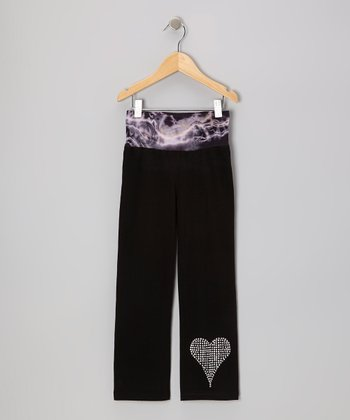Black Heart Yoga Pants - Girls