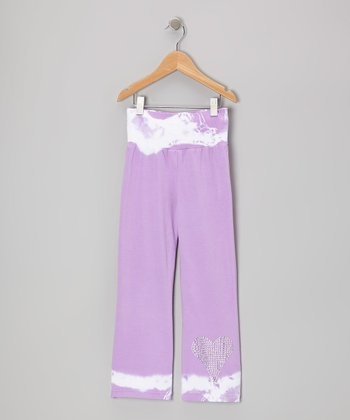 Lavender Heart Tie-Dye Yoga Pants - Toddler & Girls